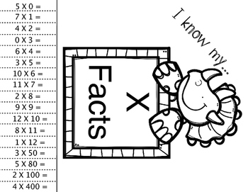 Multiplication Facts Exit Tickets Free Sample