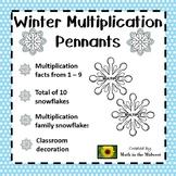 Multiplication Fact Families 1 - 10 Winter Pennants Activity