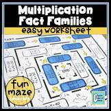 Multiplication Fact Families Easy Worksheet