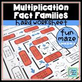 Multiplication Fact Families Hard Worksheet