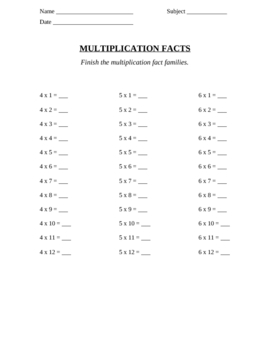 Multiplication Fact Families Sheets 1-12