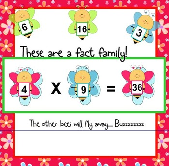 Multiplication Fact Family Bees