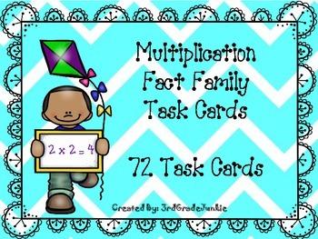 Multiplication Fact Family Task Cards 2-12