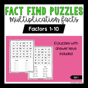 Multiplication Fact Find Set 1