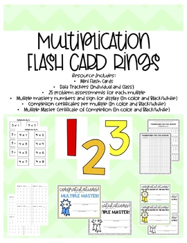 Multiplication Fact Flash Card: Mini Rings and Data Tracker