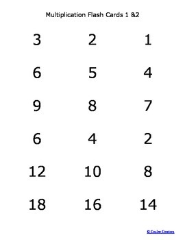 Multiplication Fact Flash Cards 0-9