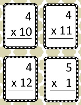 Multiplication Fact Flash Cards