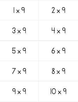 Multiplication Fact Flashcards with Answers