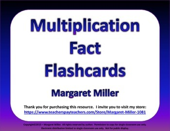 Multiplication Fact Flashcards with Centered Dot