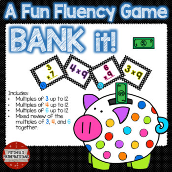 Multiplication Fact Fluency 3, 4, 6, and Mixed to 12 Interactive Game