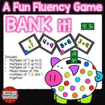 Multiplication Fact Fluency 7, 8, 9, and Mixed to 12 Interactive Game