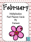 Multiplication Fact Fluency Cards for Februrary