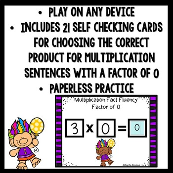 Multiplication Fact Fluency Factor of 0 Boom Cards