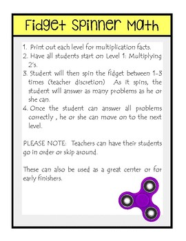 Multiplication Fact Fluency: Fidget Spinner Math
