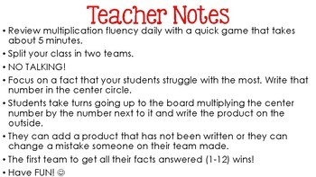 Multiplication Fact Fluency Game