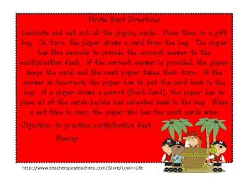Pirate Bust- A Multiplication Fluency Game