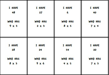 Multiplication Fact Fluency, I Have Who Has Class Activity