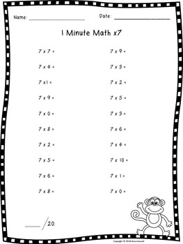 Multiplication Fact Fluency Quizzes