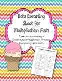 Multiplication Fact Fluency Recording Sheet