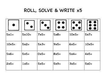 Multiplication Fact Fluency Roll, Solve & Write
