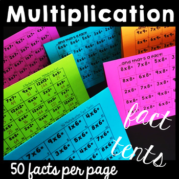 Multiplication Fact Fluency Tents for Fact Multiplication Facts Practice