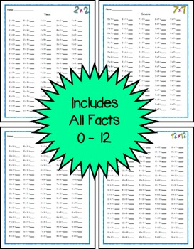 Multiplication Fact Fluency Timed Tests - Horizontal 100