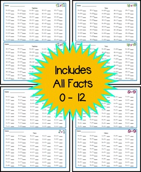 Multiplication Fact Fluency Timed Tests - Horizontal 50