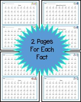 Multiplication Fact Fluency Timed Tests - Vertical 50