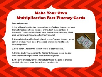 Make Your Own Multiplication Fact Fluency Cards using Hot Dots Pens