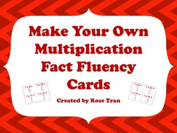 Make Your Own Multiplication Fact Fluency Cards using Hot