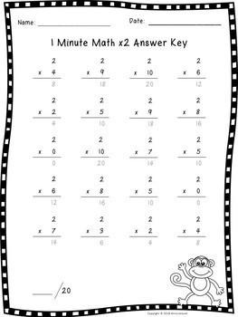 Multiplication Fact Fluency x2 Quiz
