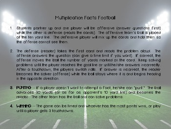 Multiplication Fact Football Game