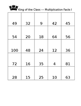 Multiplication Fact Game I