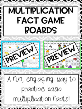 Multiplication Fact Game Boards