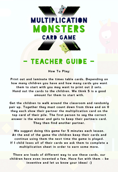 Multiplication Fact Game Cards Activity: Grades 3 - 6