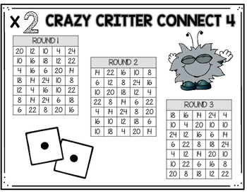Multiplication Fact Game: Crazy Critter Connect 4