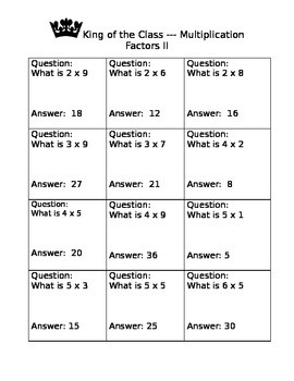Multiplication Fact Game II