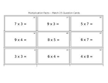 Multiplication Fact Game -- Match 25