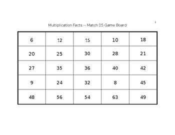 Multiplication Fact Game -- Match 25