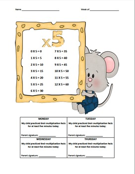 Multiplication Fact Logs Mouse (x0-x9)