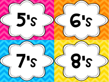 Multiplication Fact Mastery Display- Color & Black/White