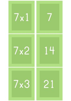 Multiplication Fact Match: 7's (Freebie)