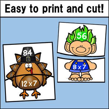 Multiplication Fact Match Puzzles BUNDLE