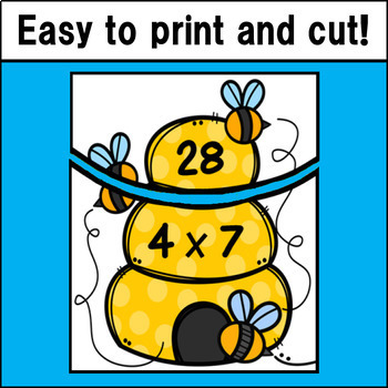 Multiplication Fact Match Puzzles (Beehive Theme)