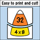 Multiplication Fact Match Puzzles (Candy Corn Theme)