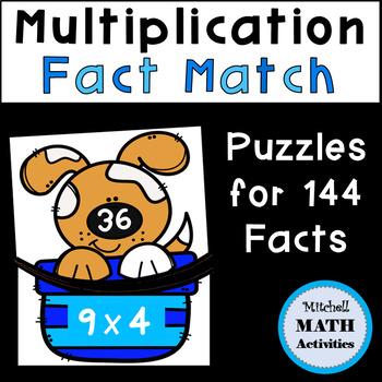 Multiplication Fact Match Puzzles (Dog Theme)
