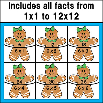Multiplication Fact Match Puzzles (Gingerbread Theme)