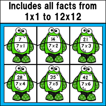 Multiplication Fact Match Puzzles (Monster Theme)