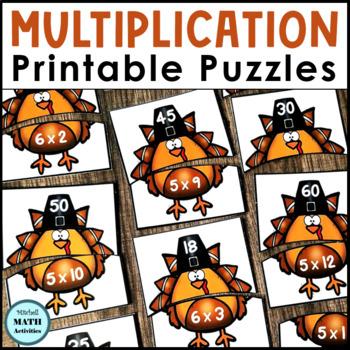 Multiplication Fact Match Puzzles (Turkey Theme)