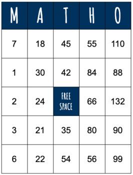 Multiplication Fact MathO: 2's - 12's